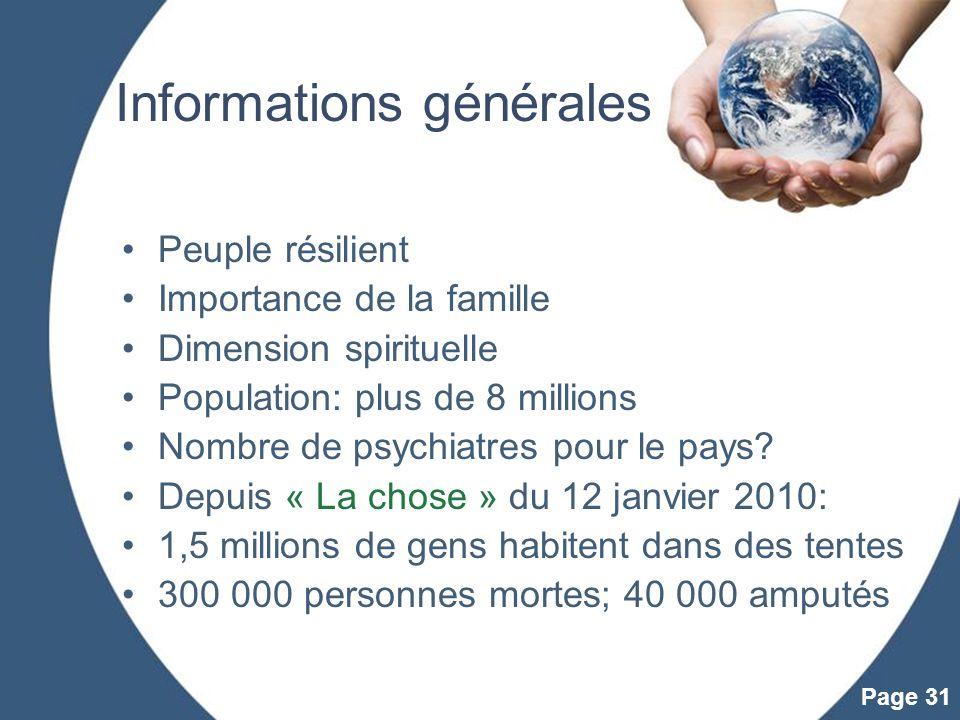 Powerpoint Templates Page 31 Informations générales Peuple résilient Importance de la famille Dimension spirituelle Population: plus de 8 millions Nom