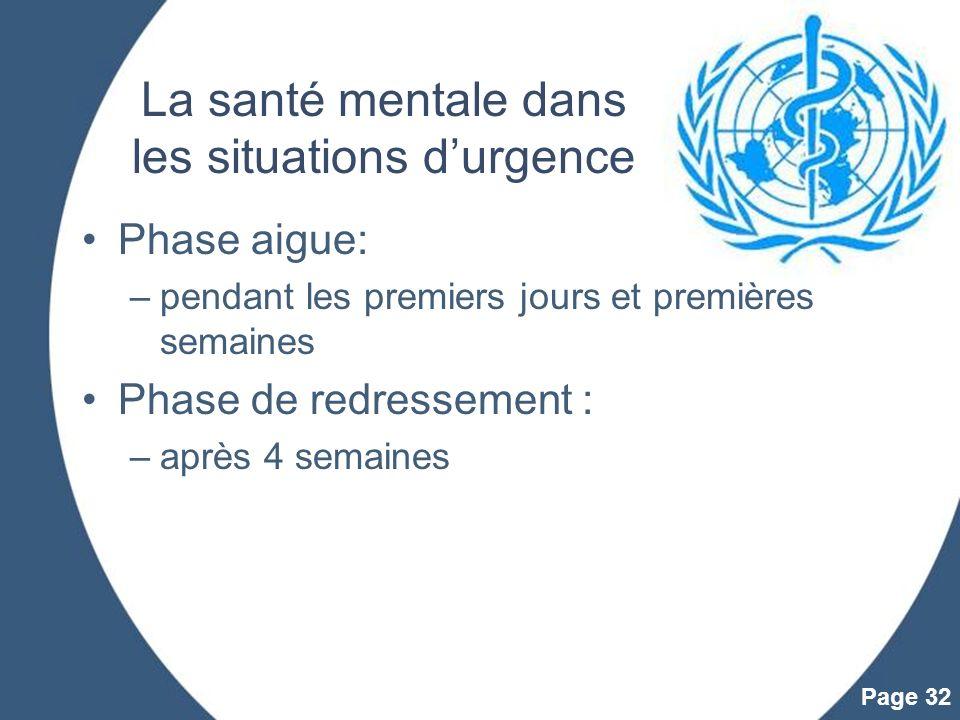 Powerpoint Templates Page 32 La santé mentale dans les situations durgence Phase aigue: –pendant les premiers jours et premières semaines Phase de red