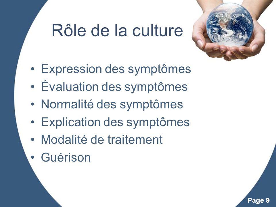 Powerpoint Templates Page 9 Rôle de la culture Expression des symptômes Évaluation des symptômes Normalité des symptômes Explication des symptômes Mod