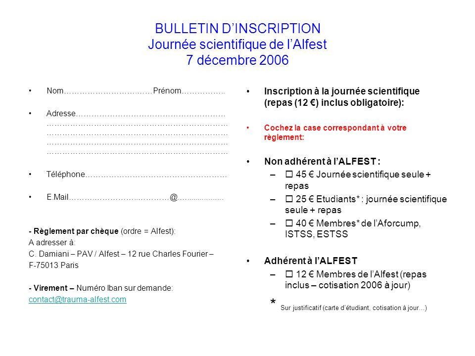 BULLETIN DINSCRIPTION Journée scientifique de lAlfest 7 décembre 2006 Nom……………………….……Prénom……………..