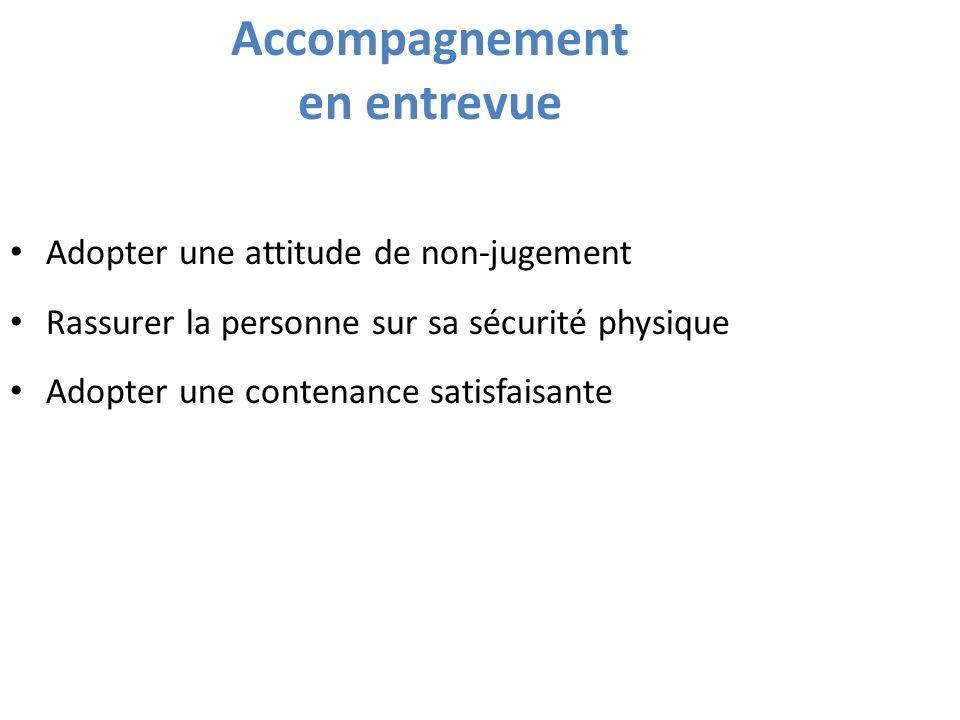 Accompagnement en entrevue Adopter une attitude de non-jugement Rassurer la personne sur sa sécurité physique Adopter une contenance satisfaisante