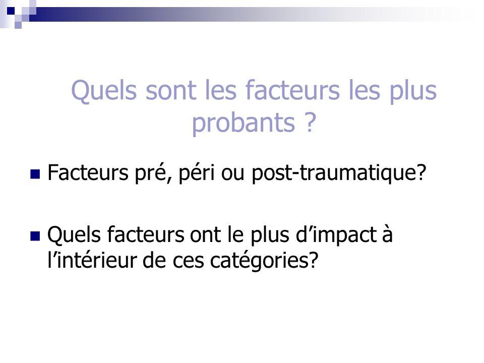 Quels sont les facteurs les plus probants ? Facteurs pré, péri ou post-traumatique? Quels facteurs ont le plus dimpact à lintérieur de ces catégories?