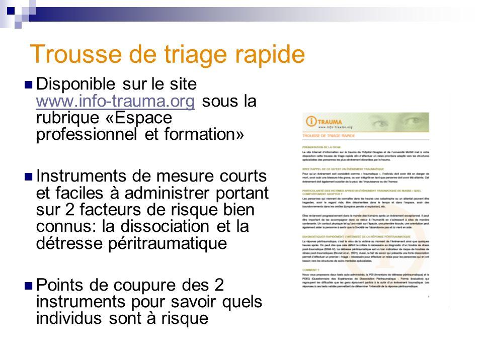 Trousse de triage rapide Disponible sur le site www.info-trauma.org sous la rubrique «Espace professionnel et formation» www.info-trauma.org Instrumen
