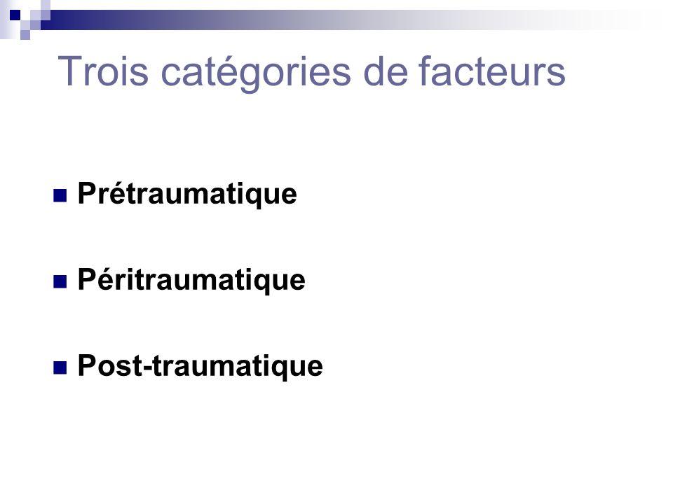 Trois catégories de facteurs Prétraumatique Péritraumatique Post-traumatique