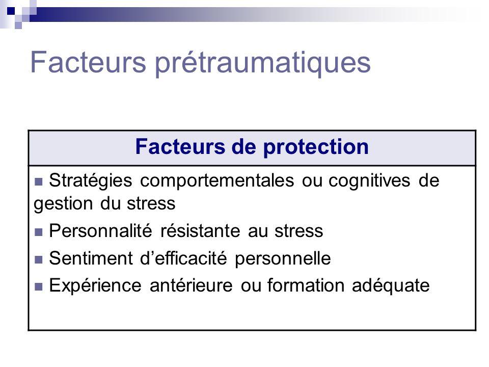 Facteurs prétraumatiques Facteurs de protection Stratégies comportementales ou cognitives de gestion du stress Personnalité résistante au stress Senti