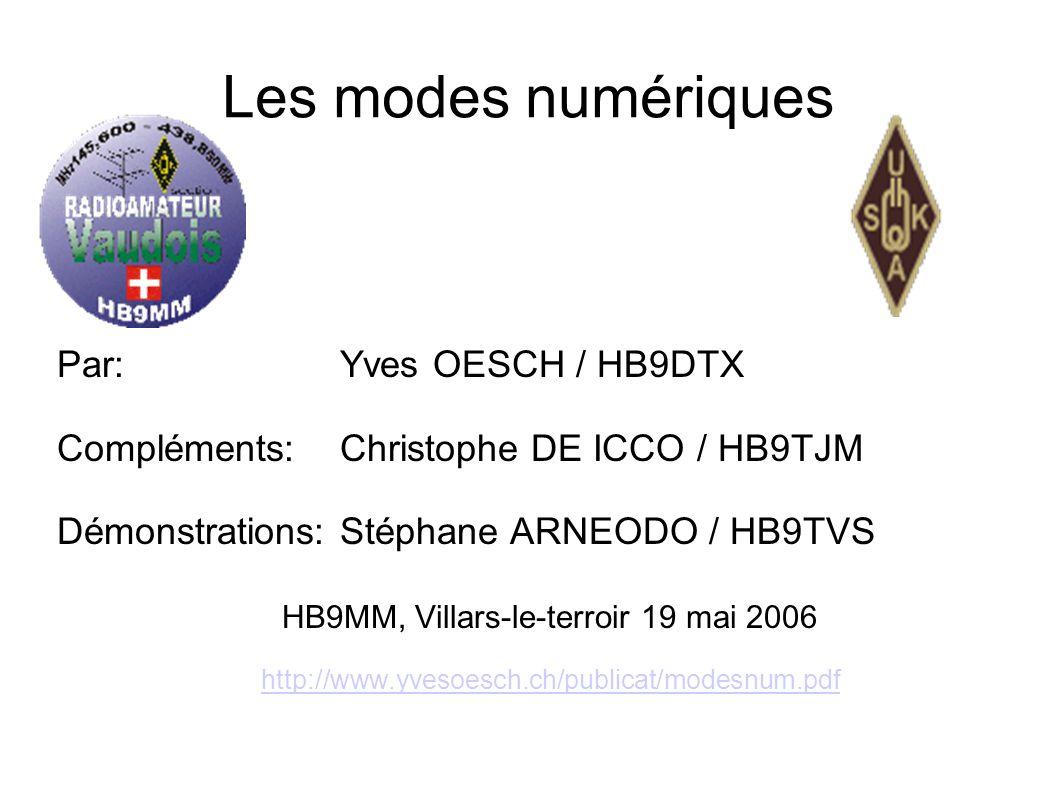 Les modes numériques Par: Yves OESCH / HB9DTX Compléments:Christophe DE ICCO / HB9TJM Démonstrations:Stéphane ARNEODO / HB9TVS HB9MM, Villars-le-terro