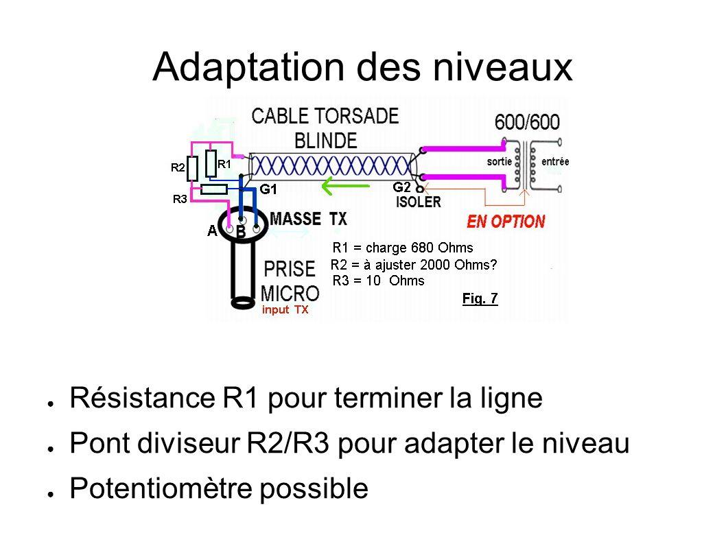 Adaptation des niveaux Résistance R1 pour terminer la ligne Pont diviseur R2/R3 pour adapter le niveau Potentiomètre possible