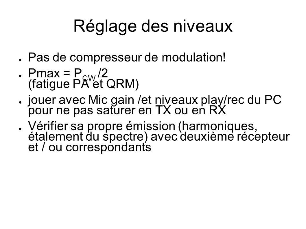 Réglage des niveaux Pas de compresseur de modulation! Pmax = P CW /2 (fatigue PA et QRM) jouer avec Mic gain /et niveaux play/rec du PC pour ne pas sa