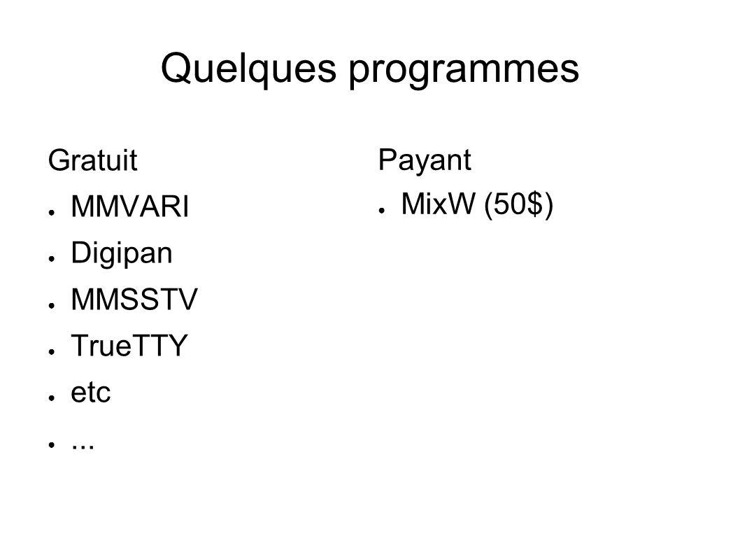 Quelques programmes Gratuit MMVARI Digipan MMSSTV TrueTTY etc... Payant MixW (50$)