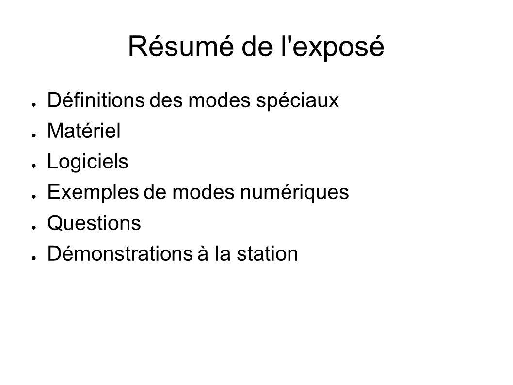 Résumé de l'exposé Définitions des modes spéciaux Matériel Logiciels Exemples de modes numériques Questions Démonstrations à la station