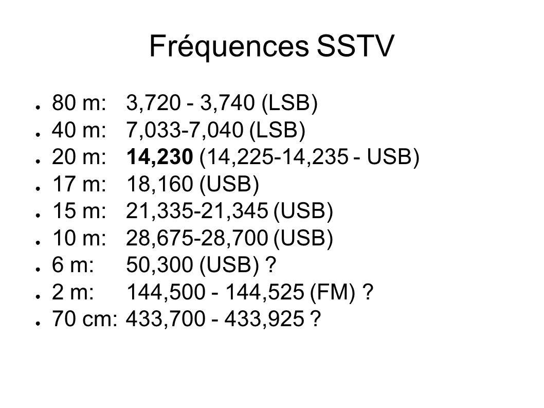 Fréquences SSTV 80 m:3,720 - 3,740 (LSB) 40 m:7,033-7,040 (LSB) 20 m:14,230 (14,225-14,235 - USB) 17 m:18,160 (USB) 15 m:21,335-21,345 (USB) 10 m:28,6