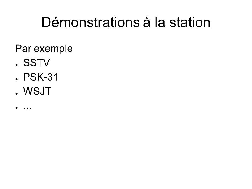 Démonstrations à la station Par exemple SSTV PSK-31 WSJT...