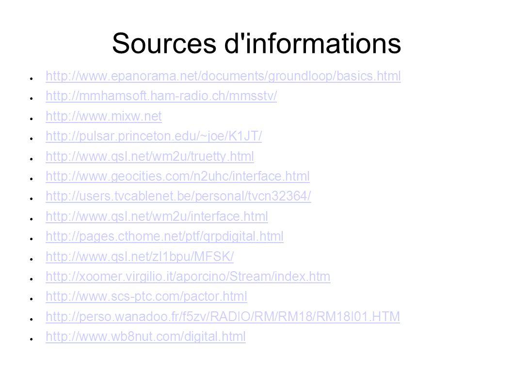 Sources d'informations http://www.epanorama.net/documents/groundloop/basics.html http://mmhamsoft.ham-radio.ch/mmsstv/ http://www.mixw.net http://puls