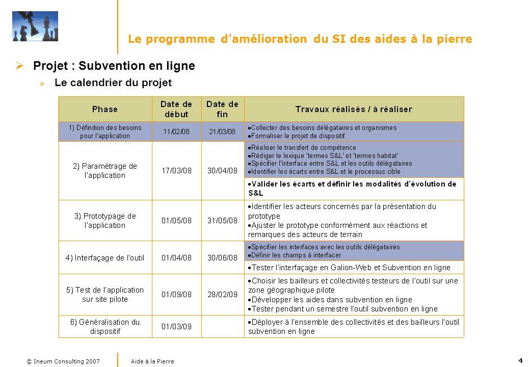4 Aide à la Pierre © Ineum Consulting 2007 Projet : Subvention en ligne Le calendrier du projet Le programme damélioration du SI des aides à la pierre
