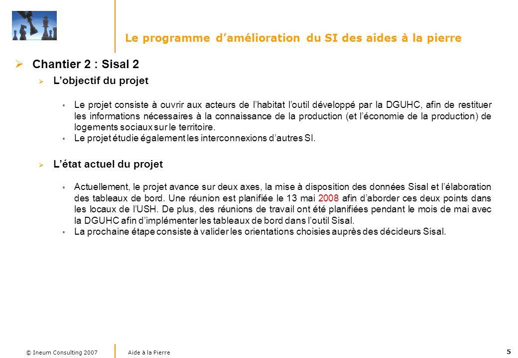 5 Aide à la Pierre © Ineum Consulting 2007 Chantier 2 : Sisal 2 Lobjectif du projet Le projet consiste à ouvrir aux acteurs de lhabitat loutil dévelop