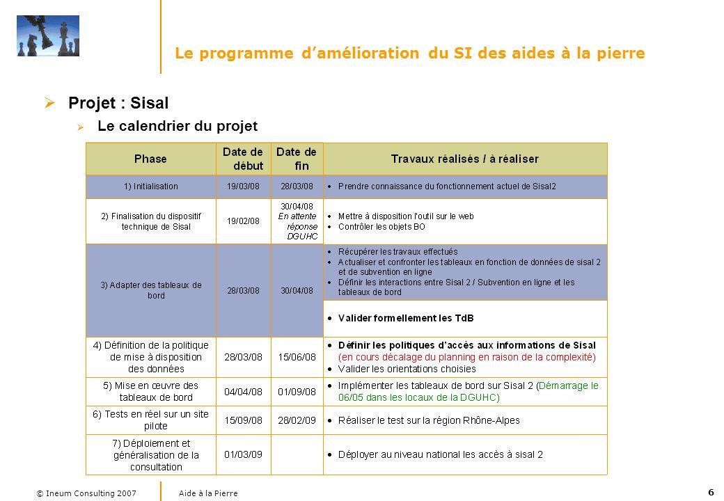 6 Aide à la Pierre © Ineum Consulting 2007 Le programme damélioration du SI des aides à la pierre Projet : Sisal Le calendrier du projet