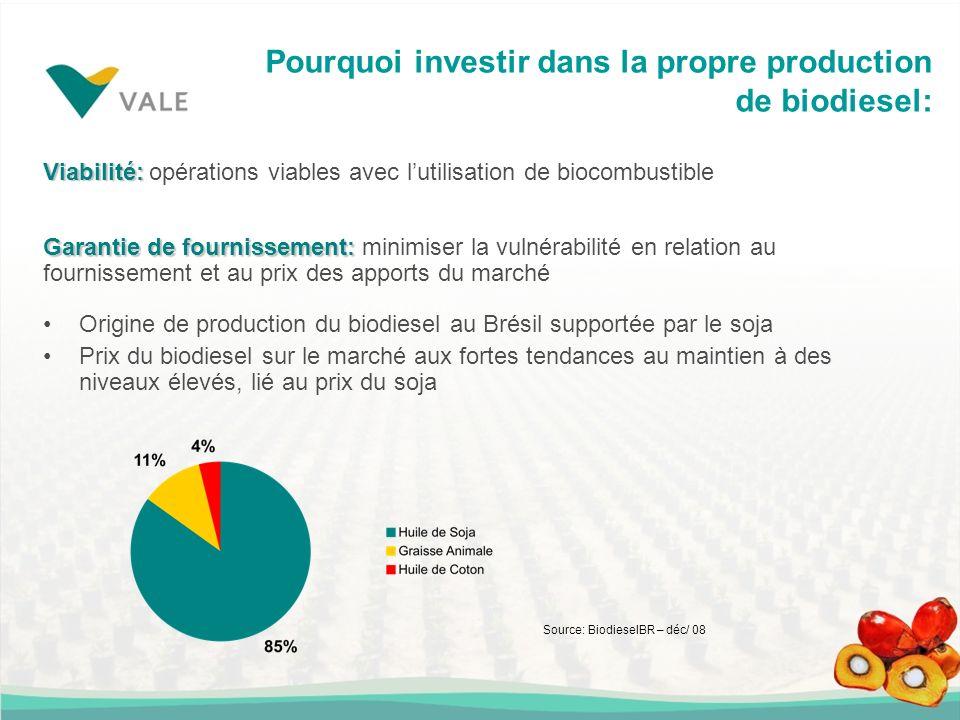 Pourquoi investir dans la propre production de biodiesel: Origine de production du biodiesel au Brésil supportée par le soja Prix du biodiesel sur le marché aux fortes tendances au maintien à des niveaux élevés, lié au prix du soja Viabilité: Viabilité: opérations viables avec lutilisation de biocombustible Source: BiodieselBR – déc/ 08 Garantie de fournissement: Garantie de fournissement: minimiser la vulnérabilité en relation au fournissement et au prix des apports du marché
