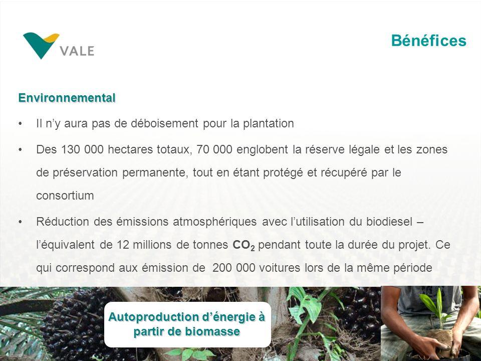 Bénéfices Environnemental Il ny aura pas de déboisement pour la plantation Des 130 000 hectares totaux, 70 000 englobent la réserve légale et les zones de préservation permanente, tout en étant protégé et récupéré par le consortium Réduction des émissions atmosphériques avec lutilisation du biodiesel – léquivalent de 12 millions de tonnes CO 2 pendant toute la durée du projet.