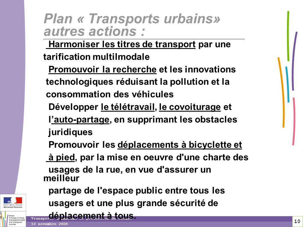 10 12 novembre 2008 Transport, urbanisme et protection du climat 10 Plan « Transports urbains» autres actions : Harmoniser les titres de transport par