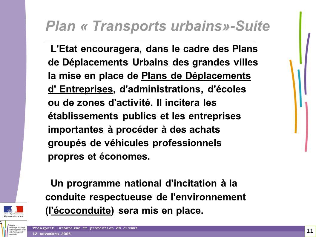 11 12 novembre 2008 Transport, urbanisme et protection du climat 11 Plan « Transports urbains»-Suite L'Etat encouragera, dans le cadre des Plans de Dé