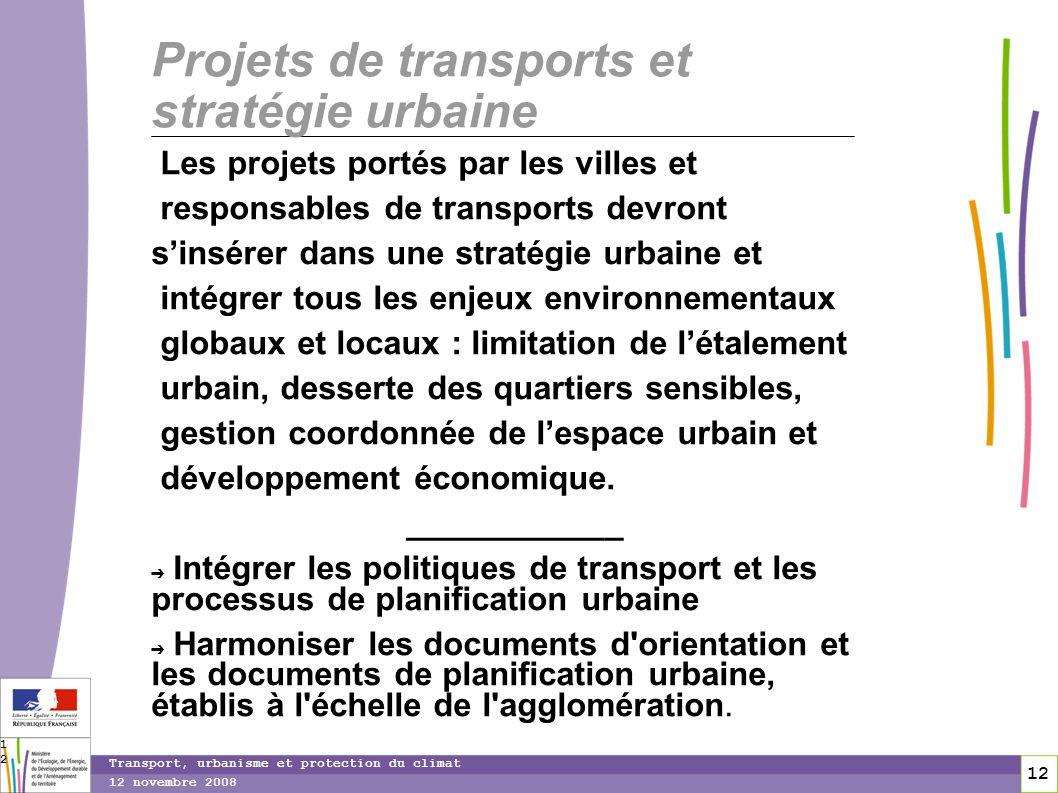 12 12 novembre 2008 Transport, urbanisme et protection du climat 12 Projets de transports et stratégie urbaine Les projets portés par les villes et re