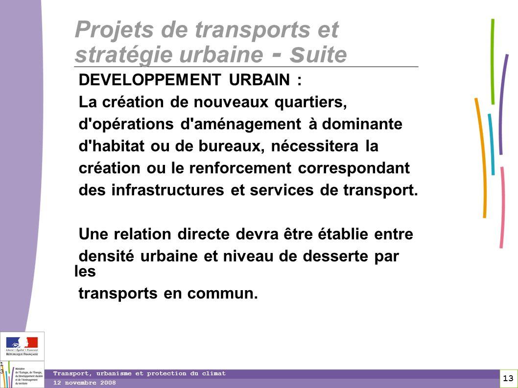13 12 novembre 2008 Transport, urbanisme et protection du climat 13 Projets de transports et stratégie urbaine - s uite DEVELOPPEMENT URBAIN : La créa