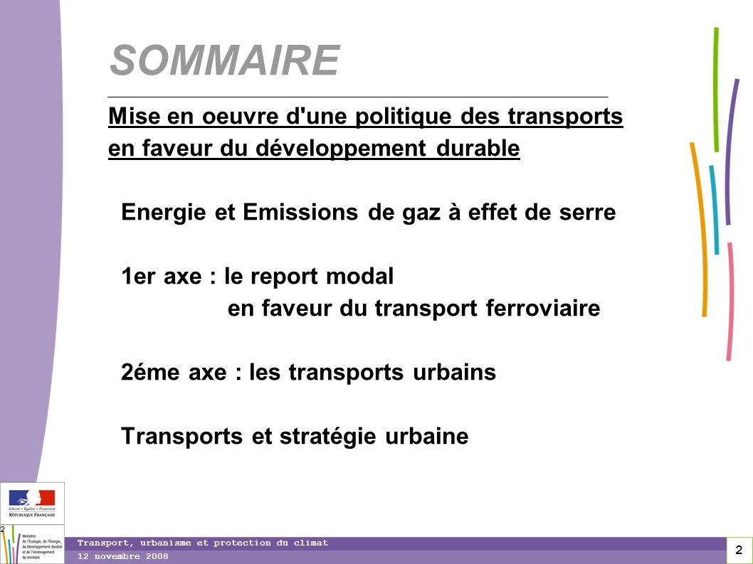 2 12 novembre 2008 Transport, urbanisme et protection du climat 2 SOMMAIRE Mise en oeuvre d'une politique des transports en faveur du développement du
