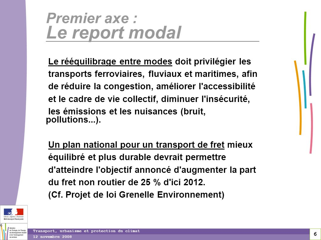 6 12 novembre 2008 Transport, urbanisme et protection du climat 6 Premier axe : Le report modal Le rééquilibrage entre modes doit privilégier les tran
