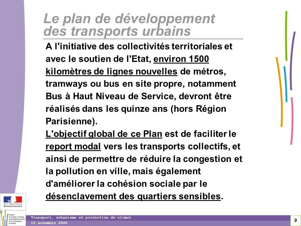 9 12 novembre 2008 Transport, urbanisme et protection du climat 9 Le plan de développement des transports urbains A l'initiative des collectivités ter