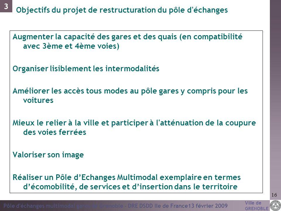 Ville de GRENOBLE Pôle d'échanges multimodal gares de Grenoble - DRE DSDD Ile de France13 février 2009 16 Augmenter la capacité des gares et des quais