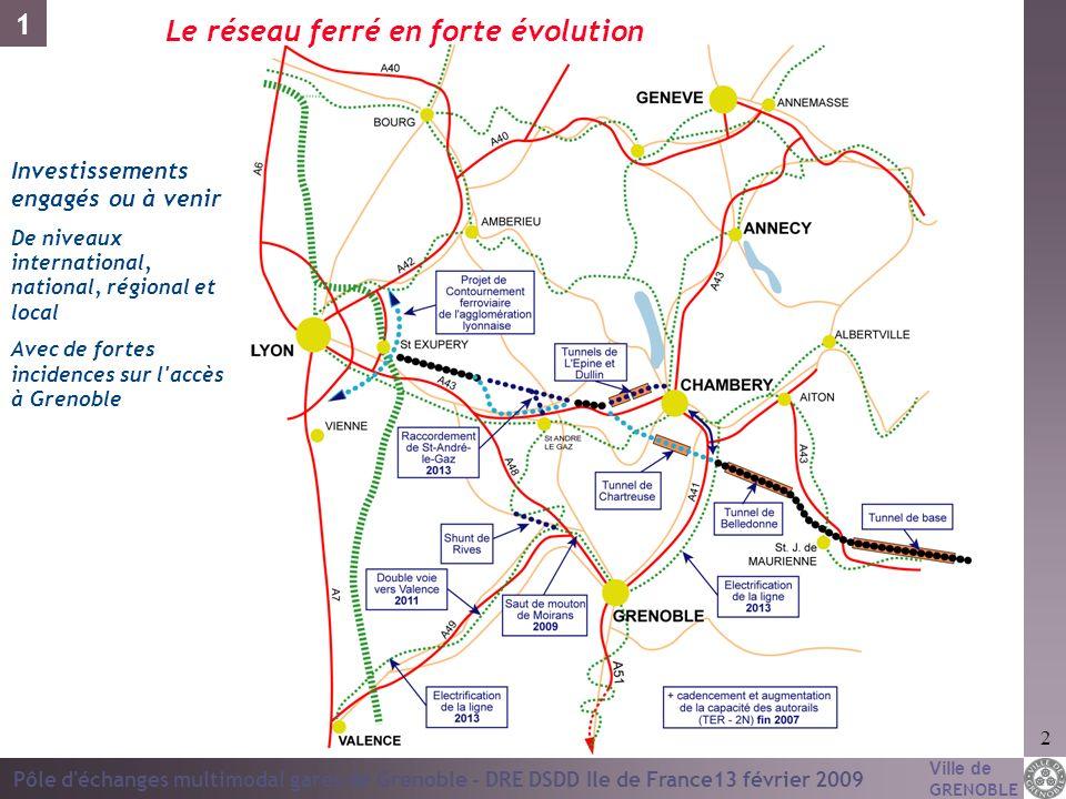 Ville de GRENOBLE Pôle d'échanges multimodal gares de Grenoble - DRE DSDD Ile de France13 février 2009 2 Le réseau ferré en forte évolution Investisse