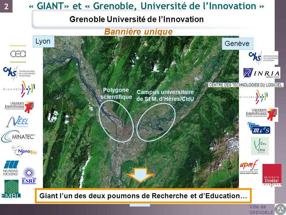 Ville de GRENOBLE Lyon Genève Nice Campus universitaire de St M. dHères/CHU Polygone scientifique Bannière unique Giant lun des deux poumons de Recher