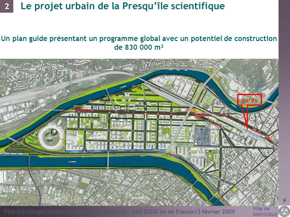 Ville de GRENOBLE Pôle d'échanges multimodal gares de Grenoble - DRE DSDD Ile de France13 février 2009 9 Un plan guide présentant un programme global