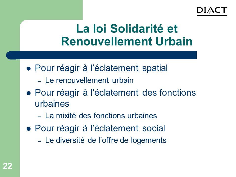 22 La loi Solidarité et Renouvellement Urbain Pour réagir à léclatement spatial – Le renouvellement urbain Pour réagir à léclatement des fonctions urb