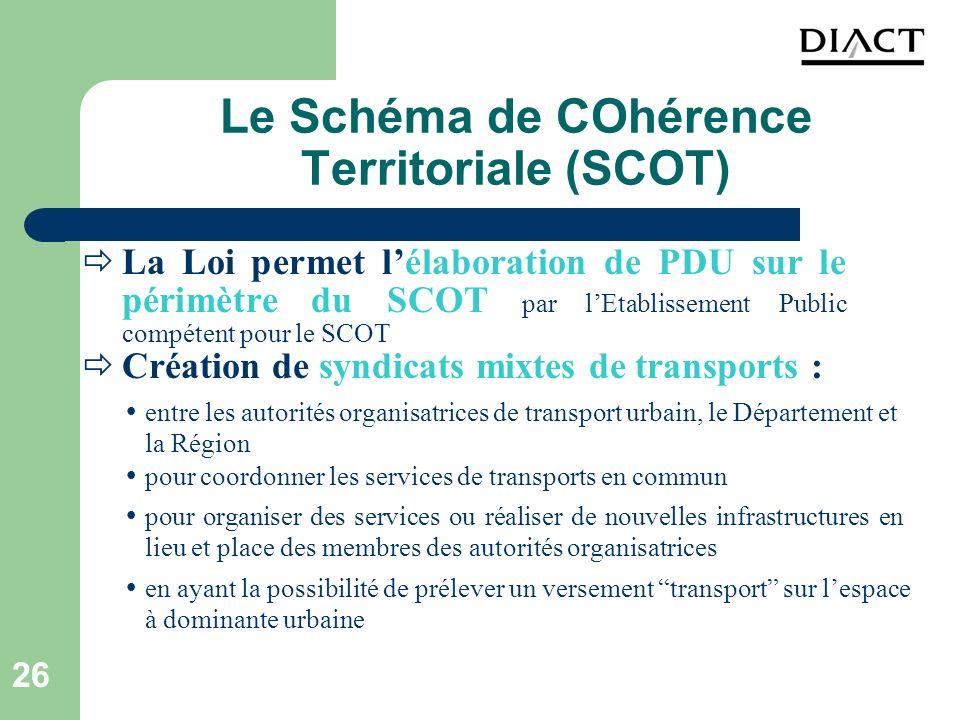 26 Le Schéma de COhérence Territoriale (SCOT) La Loi permet lélaboration de PDU sur le périmètre du SCOT par lEtablissement Public compétent pour le S