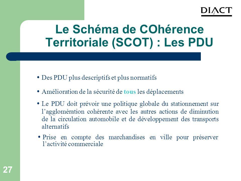 27 Le Schéma de COhérence Territoriale (SCOT) : Les PDU Amélioration de la sécurité de tous les déplacements Le PDU doit prévoir une politique globale