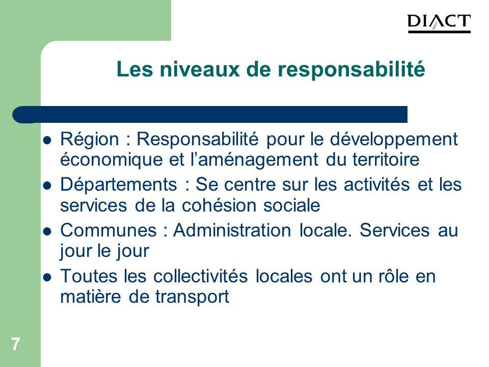 7 Les niveaux de responsabilité Région : Responsabilité pour le développement économique et laménagement du territoire Départements : Se centre sur le