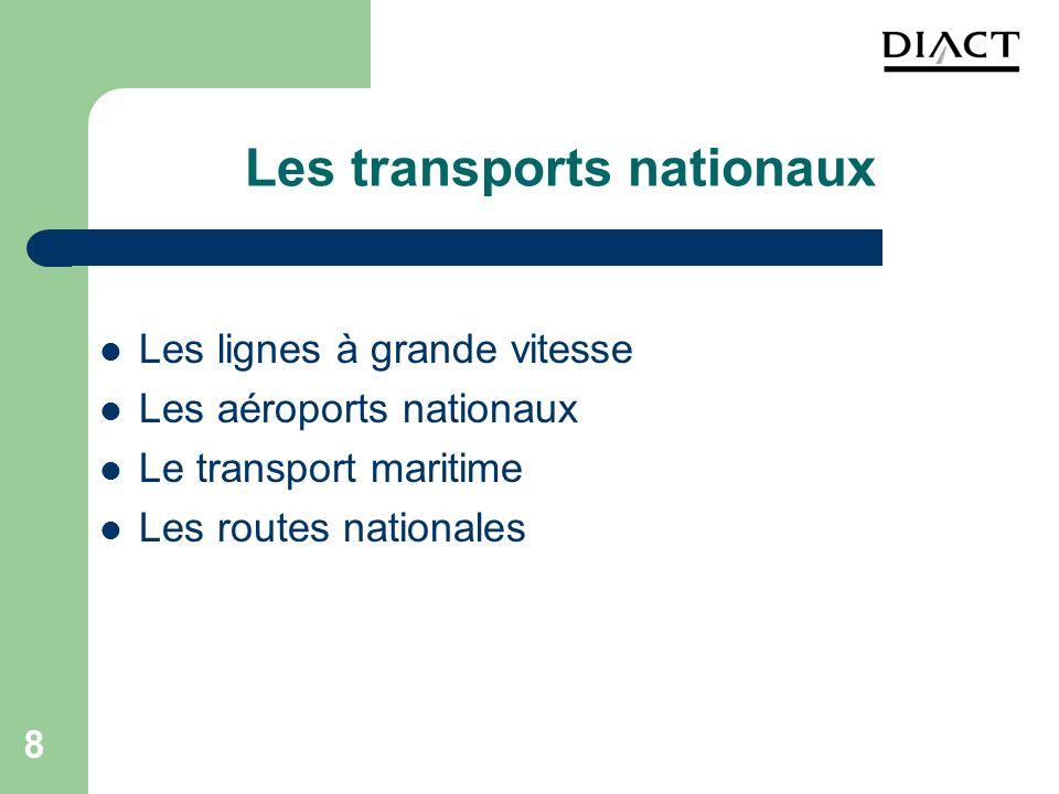 8 Les transports nationaux Les lignes à grande vitesse Les aéroports nationaux Le transport maritime Les routes nationales
