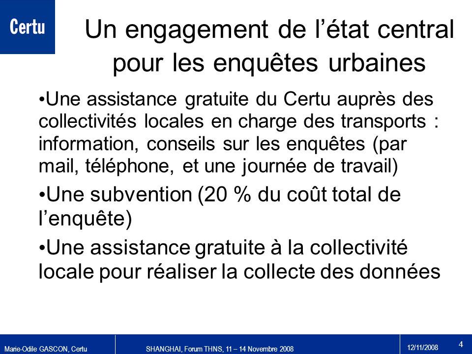 Marie-Odile GASCON, CertuSHANGHAI, Forum THNS, 11 – 14 Novembre 2008 12/11/2008 4 Un engagement de létat central pour les enquêtes urbaines Une assist