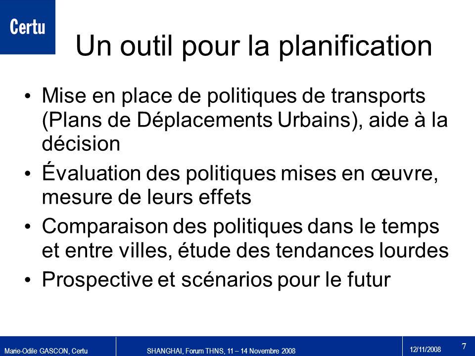 Marie-Odile GASCON, CertuSHANGHAI, Forum THNS, 11 – 14 Novembre 2008 12/11/2008 7 Un outil pour la planification Mise en place de politiques de transp