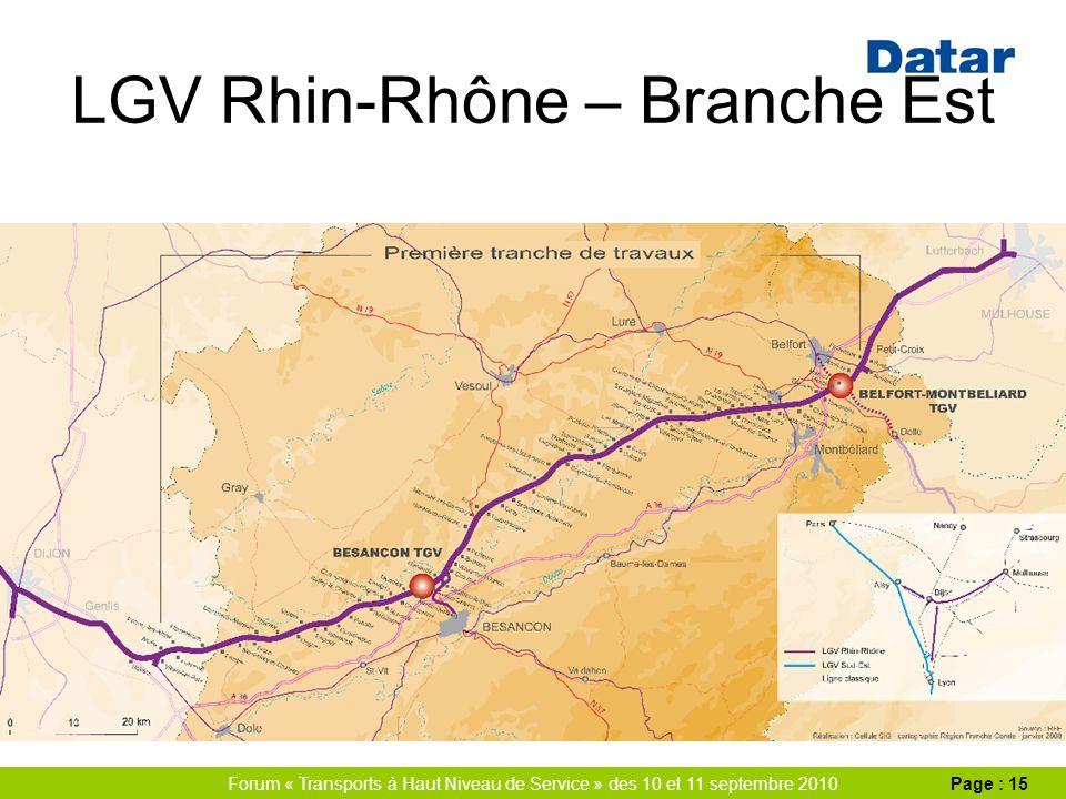 Forum « Transports à Haut Niveau de Service » des 10 et 11 septembre 2010Page : 15 LGV Rhin-Rhône – Branche Est