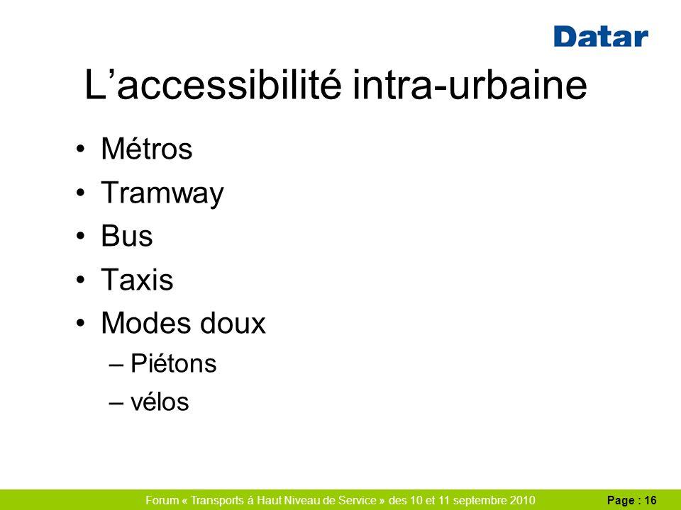 Forum « Transports à Haut Niveau de Service » des 10 et 11 septembre 2010Page : 16 Laccessibilité intra-urbaine Métros Tramway Bus Taxis Modes doux –Piétons –vélos