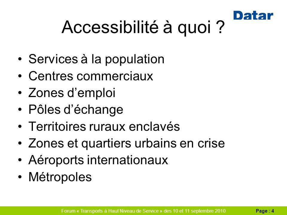 Forum « Transports à Haut Niveau de Service » des 10 et 11 septembre 2010Page : 4 Accessibilité à quoi .