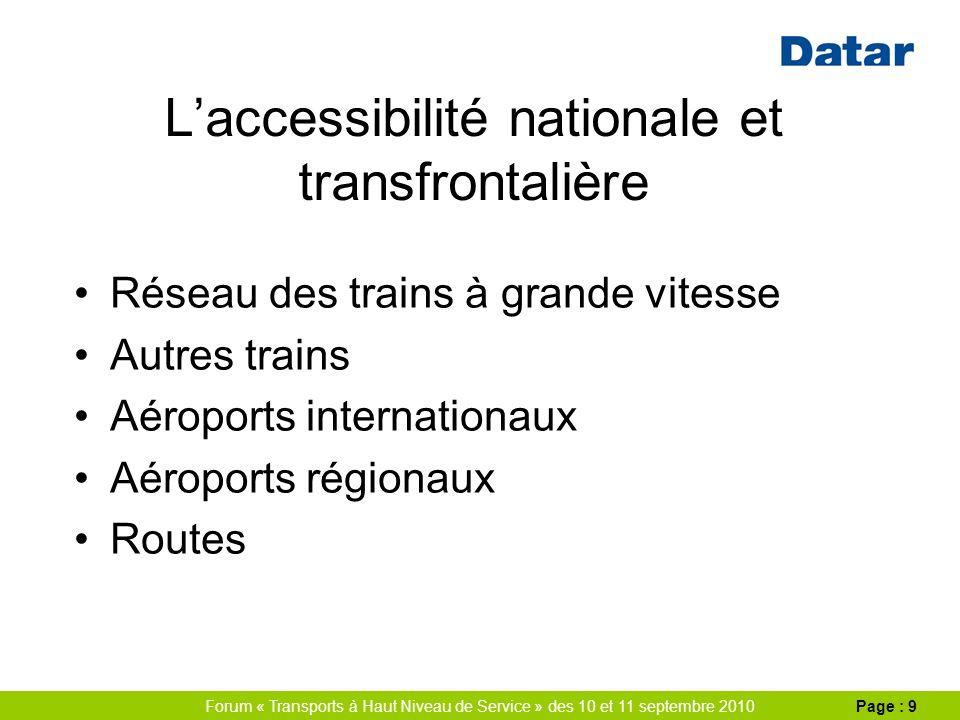 Forum « Transports à Haut Niveau de Service » des 10 et 11 septembre 2010Page : 9 Laccessibilité nationale et transfrontalière Réseau des trains à grande vitesse Autres trains Aéroports internationaux Aéroports régionaux Routes