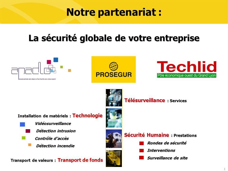 1 Notre partenariat : La sécurité globale de votre entreprise Télésurveillance : Services Sécurité Humaine : Prestations Rondes de sécurité Interventi