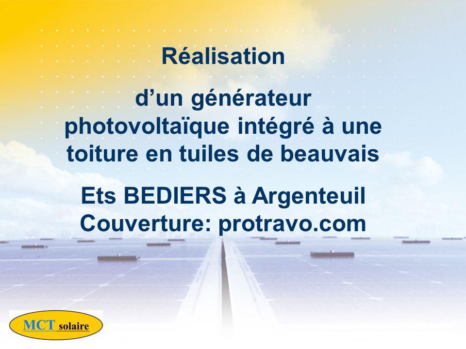 Réalisation dun générateur photovoltaïque intégré à une toiture en tuiles de beauvais Ets BEDIERS à Argenteuil Couverture: protravo.com