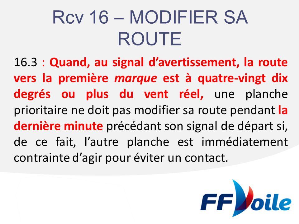 RCV 16 Deux modifications : -Précision sur la route vers la 1ère marque (à plus de 90° du vent), - Allongement de la durée dapplication de la règle (passant de 30 secondes à 1 minute avant le départ).