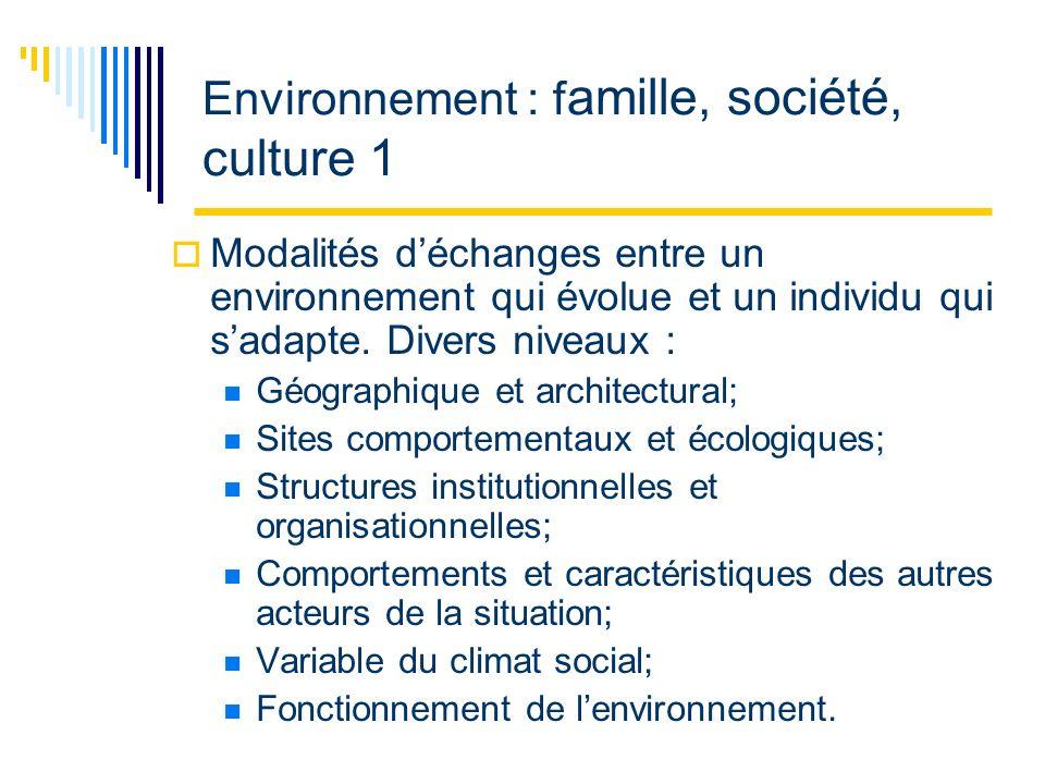 Environnement : f amille, société, culture 1 Modalités déchanges entre un environnement qui évolue et un individu qui sadapte.
