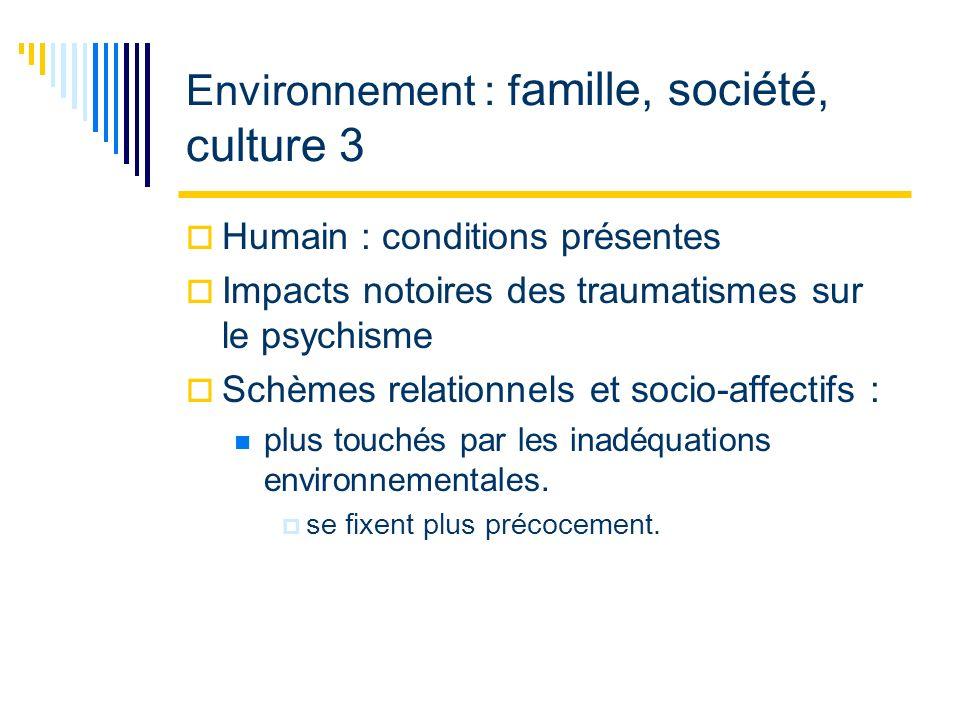 Environnement : f amille, société, culture 3 Humain : conditions présentes Impacts notoires des traumatismes sur le psychisme Schèmes relationnels et socio-affectifs : plus touchés par les inadéquations environnementales.