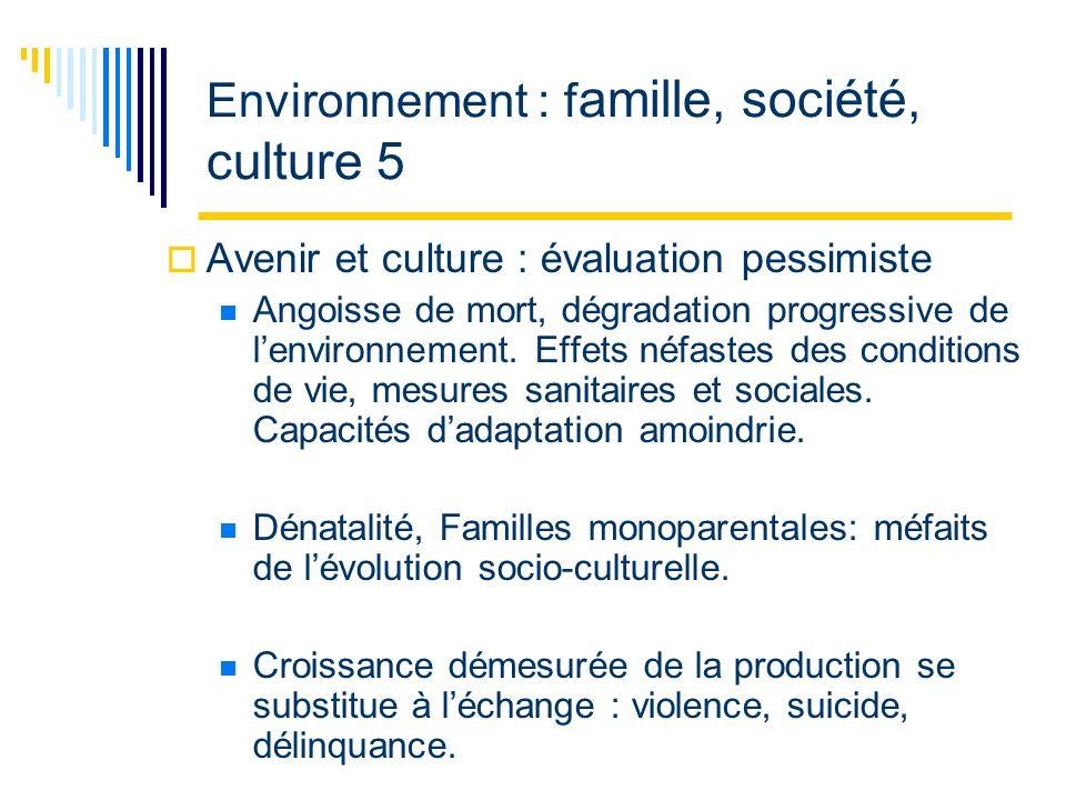 Environnement : f amille, société, culture 5 Avenir et culture : évaluation pessimiste Angoisse de mort, dégradation progressive de lenvironnement.